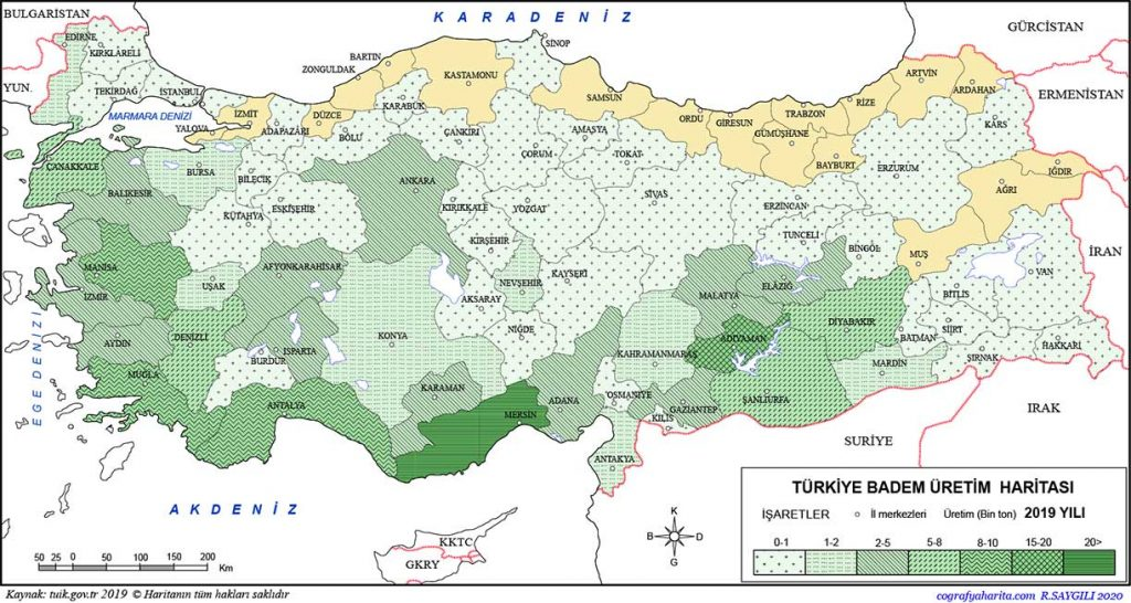 Almond production map of Turkey https://scagriconsult.com